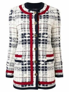 Thom Browne Framing Detail Tweed Cardigan Jacket - White