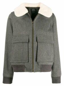 A.P.C. faux fur collar jacket - Grey