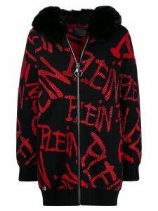 Philipp Plein jacquard rhinestone pattern cardigan coat - Black