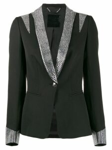 Philipp Plein crystal tuxedo jacket - Black
