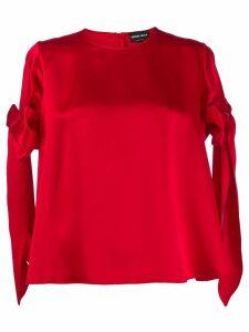 Giorgio Armani bow sleeve top - Red