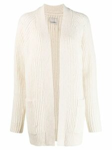 Laneus ribbed knit cardi-coat - White