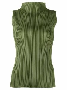 Pleats Please Issey Miyake funnel-neck pleated top - Green