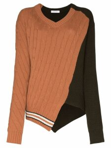 Delada textured-knit panelled sweater - Brown