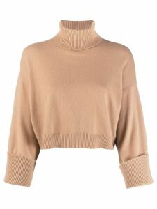 P.A.R.O.S.H. roll-neck cropped sweater - Brown