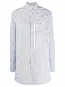 Jil Sander striped floral embroidery shirt - Blue