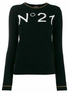 Nº21 intarsia knit logo jumper - Black
