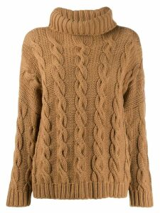 Liska turtleneck cable-knit jumper - Brown
