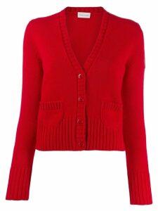 Moncler rib-knit trim cardigan - Red