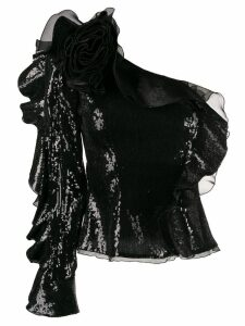 Dundas one shoulder ruffled top - Black
