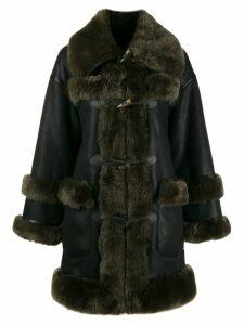 Urbancode shearling-trimmed coat - Black