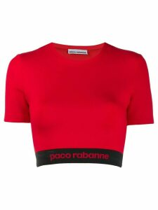 Paco Rabanne cropped logo top - Red