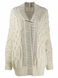 Ermanno Scervino crystal embellished chunky cardigan - White