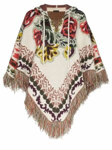 Etro intarsia floral knit poncho - 9197 Multicoloured
