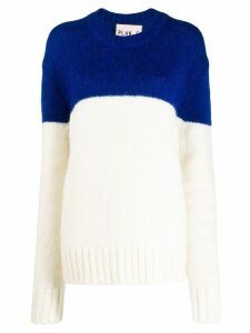 Plan C textured colour block sweater - White