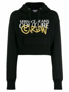 Versace Jeans Couture logo print hoodie - Black