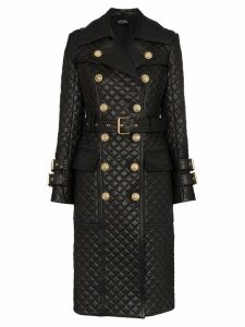 Balmain quilted double-breasted trench coat - Black