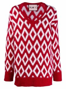 Plan C diamond-knit jumper - Red