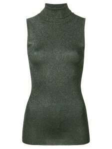 Brunello Cucinelli lamé turtleneck tank top - Green