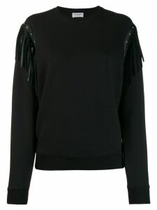 Saint Laurent leather fringing cotton sweatshirt - Black