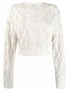 Brunello Cucinelli cropped open knit jumper - White
