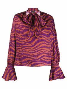 Just Cavalli animal print pussy bow blouse - PURPLE