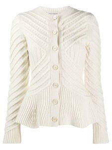 Alexander McQueen knitted peplum cardigan - White