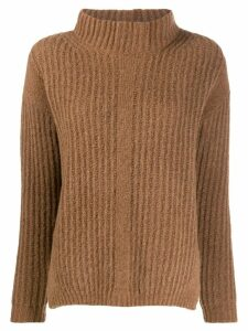 Luisa Cerano turtleneck ribbed jumper - Brown