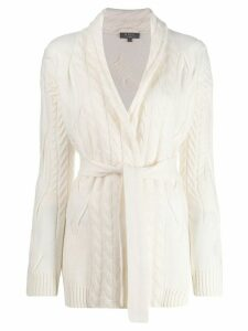 N.Peal belted cable knit cardigan - White