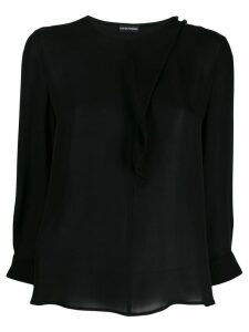 Emporio Armani asymmetrical silk blouse - Black