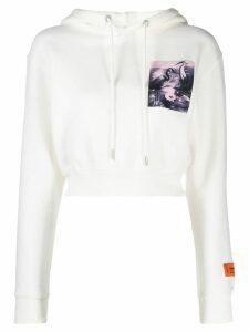 Heron Preston cropped Heron hoodie - White