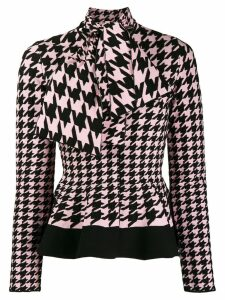 Alexander McQueen houndstooth patterned knitted cardigan - PINK