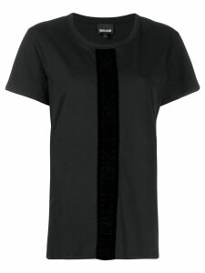 Just Cavalli velvet trim T-shirt - Black