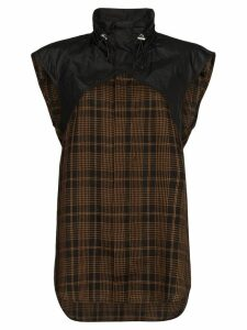 Delada panelled check hybrid shirt - Brown