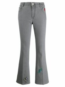 Stella McCartney embroidered flared denim jeans - Grey