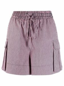 Ganni striped seesucker shorts - Pink