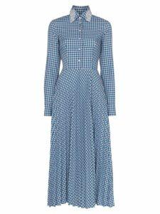 ANOUKI check open-back shirt dress - Blue