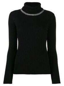 Pinko embellished ribbed turtleneck jumper - Black