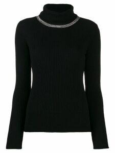 Pinko embellished ribbed turtleneck jumper - Black