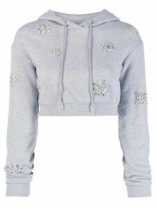 Area embellished cropped hoodie - Grey