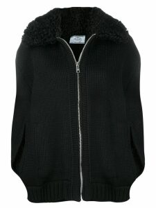Prada shearling collar zipped cardigan - Black