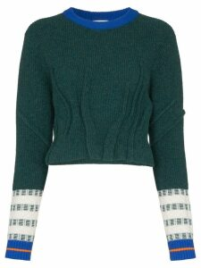 i-am-chen knitted cropped sweater - Green