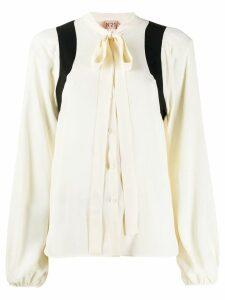 Nº21 puss-bow crepe blouse - Neutrals