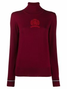 Tommy Hilfiger terry-flocked turtleneck jumper - Red