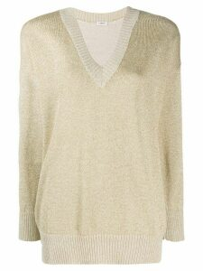 P.A.R.O.S.H. metallized V-neck jumper - GOLD