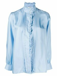 Sandro Paris ruffled long-sleeved shirt - Blue