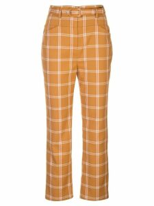 Jonathan Simkhai Windowpane high-waisted cigarette trousers - GOLD