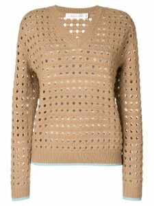 Victoria Beckham felted mesh jumper - Brown