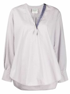 Forte Forte classic v-neck blouse - PURPLE