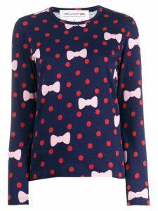 Comme Des Garçons Girl polka dot bow print sweater - Blue